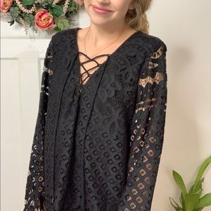 Tularosa Black Lace Crochet Lace Long Sleeve Top